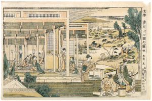 thumbnail Katsushika Hokusai – The Story of Minamoto Yoshitsune and Jôruri-hime, from the series Perspective Pictures [from Meihin Soroimono Ukiyo-e]