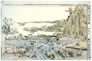 thumbnail Katsushika Hokusai – Perspective Picture of the Downhill Attack at the Battle of Ichinotani [from Meihin Soroimono Ukiyo-e]