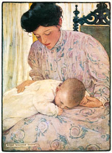 thumbnail Jessie Willcox Smith – First the Infant in its Mother's arms (The Seven Ages of Childhood by Carolyn Wells) [from Jessie Willcox Smith: American Illustrator]