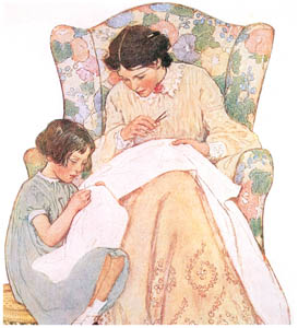 thumbnail Jessie Willcox Smith – Elizabeth sat on a little wicker footstool at her feet (When Christmas Comes Around by Priscilla Underwood) [from Jessie Willcox Smith: American Illustrator]