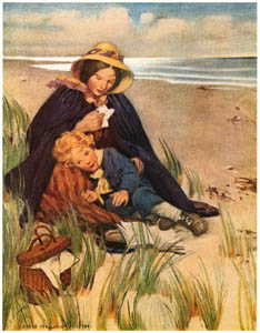 "thumbnail Jessie Willcox Smith – ""Dear boy!"" said his mother; ""your father's the best man in the world"" (At the Back of the North Wind by George MacDonald) [from Jessie Willcox Smith: American Illustrator]"