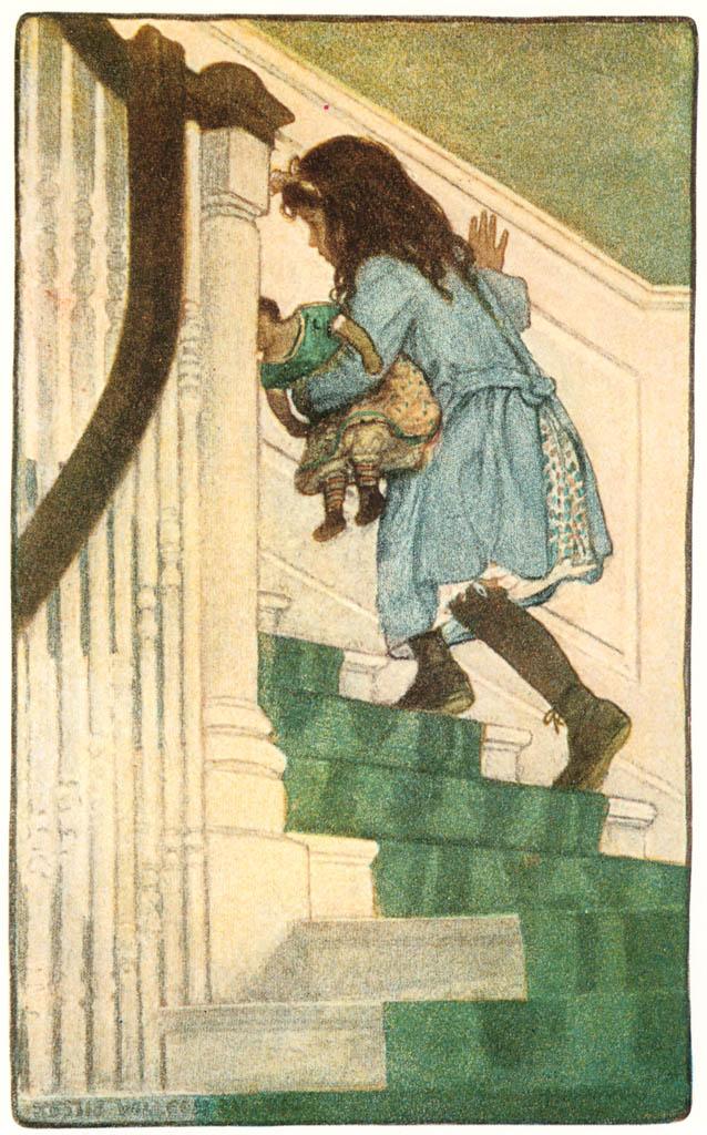 ジェシー・ウィルコックス・スミス – 彼女は上の階に通じる階段を昇り始めました (ジェシー・ウィルコックス・スミス: アメリカンイラストレーターより) パブリックドメイン画像