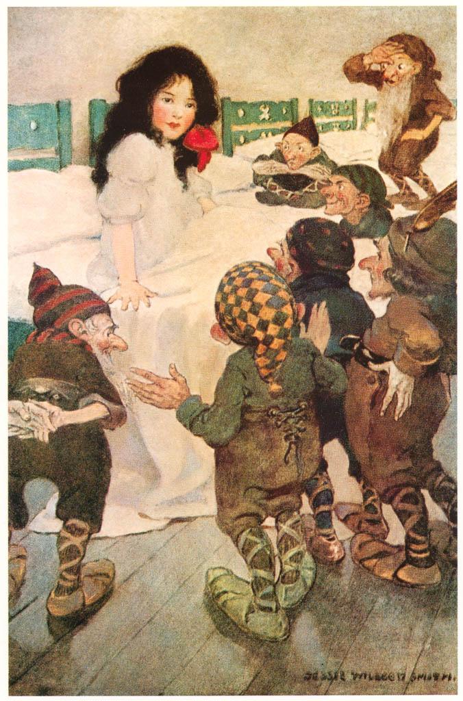 ジェシー・ウィルコックス・スミス – 白雪姫 (ジェシー・ウィルコックス・スミス: アメリカンイラストレーターより) パブリックドメイン画像