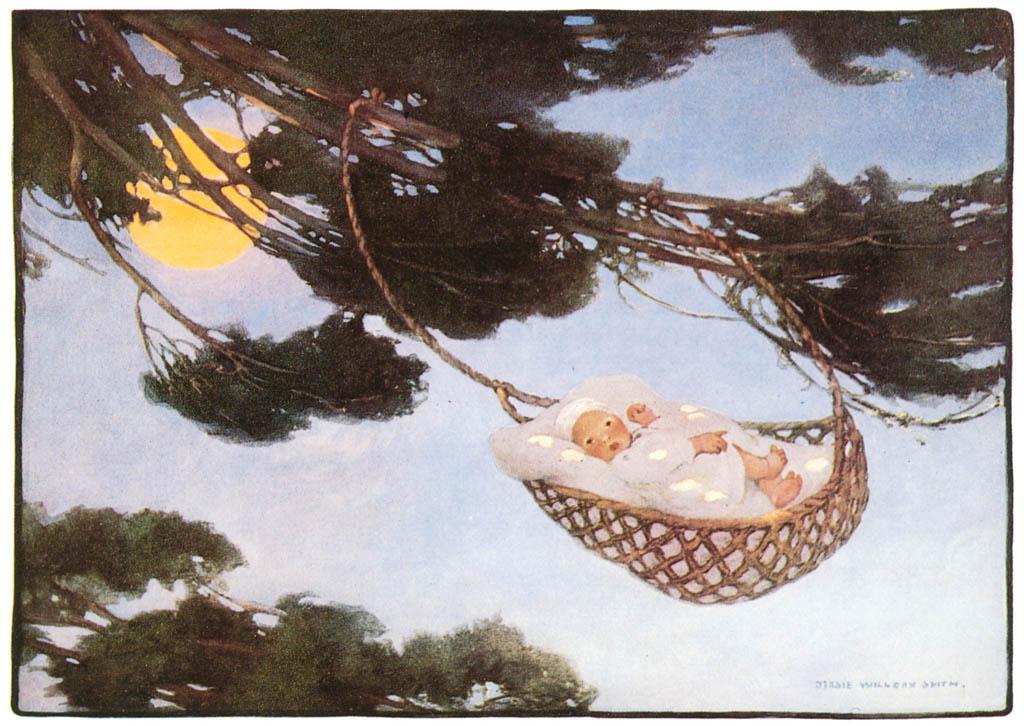 ジェシー・ウィルコックス・スミス – ねんねんころりよ 木の上で (マザーグース) (ジェシー・ウィルコックス・スミス: アメリカンイラストレーターより) パブリックドメイン画像