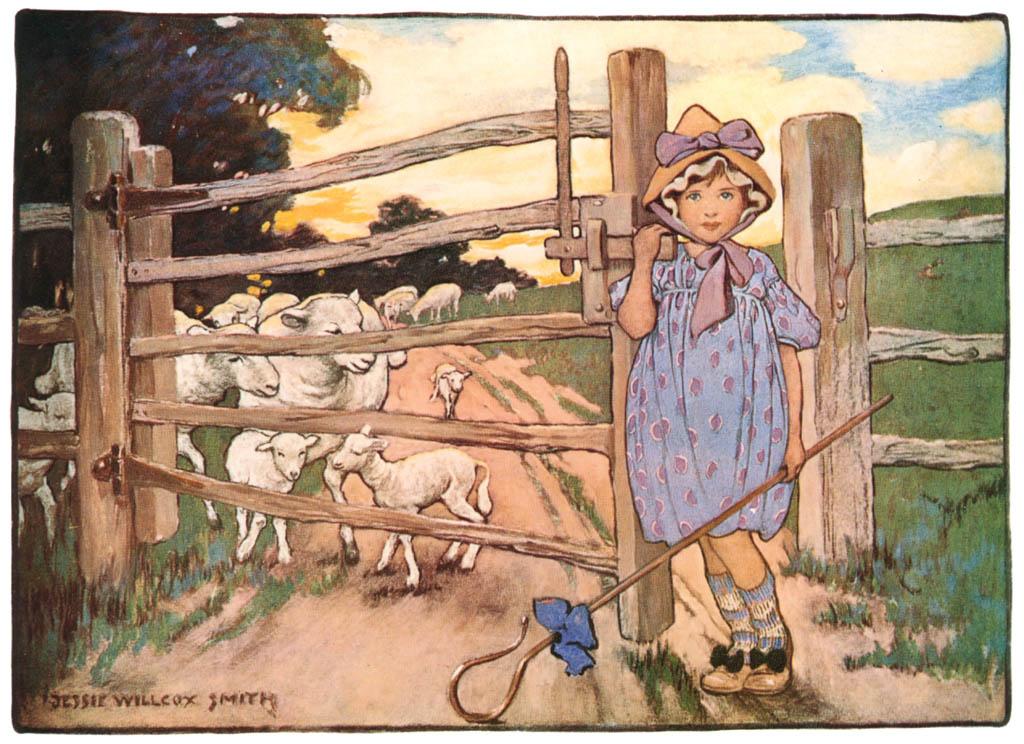 ジェシー・ウィルコックス・スミス – ボー・ピープちゃん、羊を見失い (マザーグース) (ジェシー・ウィルコックス・スミス: アメリカンイラストレーターより) パブリックドメイン画像