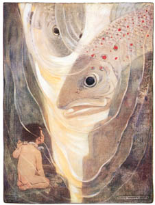 thumbnail Jessie Willcox Smith – Oh, don't hurt me!' cried Tom. 'I only want to look at you; you are so handsome' (The Water Babies by Charles Kingsley) [from Jessie Willcox Smith: American Illustrator]