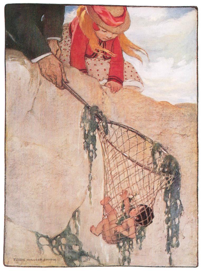 ジェシー・ウィルコックス・スミス – 彼は網が非常に重く感じ、トムが網目に絡まった状態のまま素早く引き上げました。 (水の子どもたち) (ジェシー・ウィルコックス・スミス: アメリカンイラストレーターより) パブリックドメイン画像