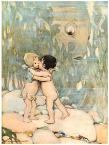 ジェシー・ウィルコックス・スミス – 彼らは長い間抱き合ったりキスしたりしました。 (水の子どもたち) (ジェシー・ウィルコックス・スミス: アメリカンイラストレーターより)のサムネイル画像
