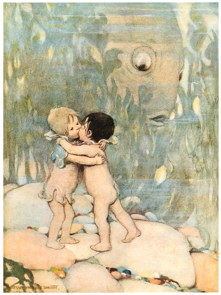 ジェシー・ウィルコックス・スミス – 彼らは長い間抱き合ったりキスしたりしました。 (水の子どもたち) (ジェシー・ウィルコックス・スミス: アメリカンイラストレーターより) パブリックドメイン画像