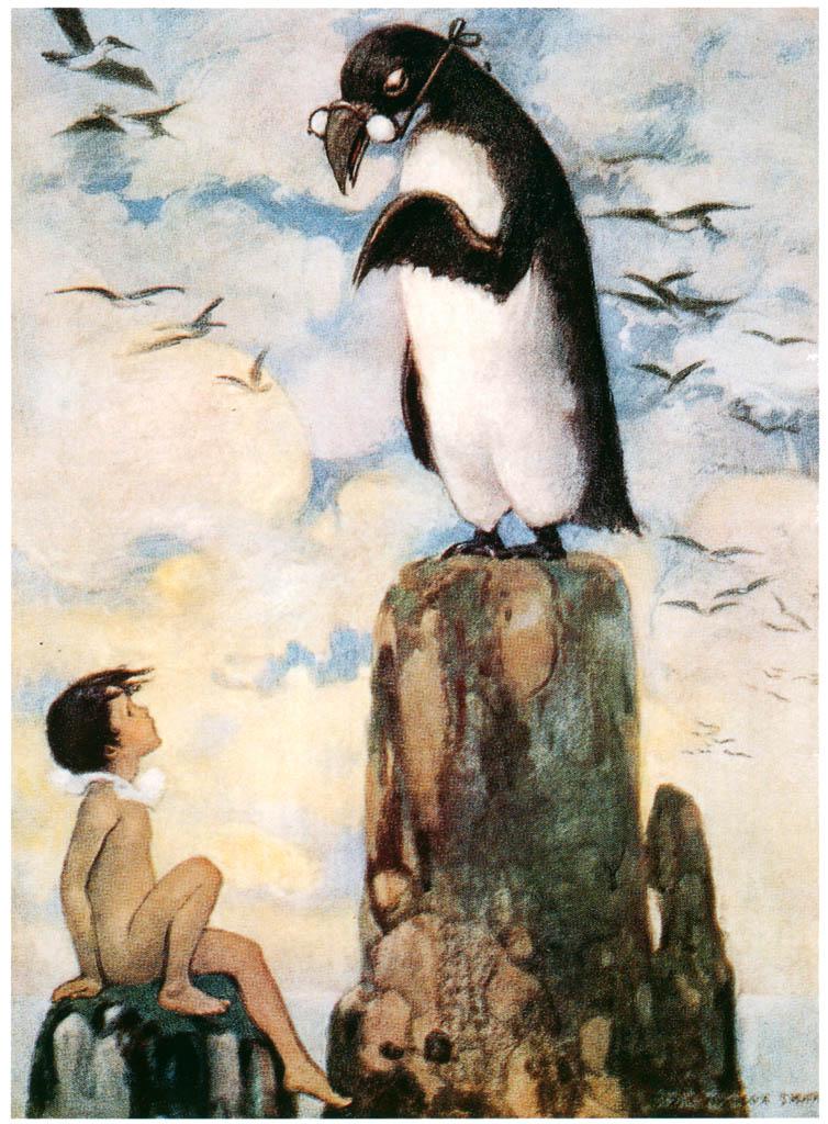 ジェシー・ウィルコックス・スミス – そしてそこで彼は孤独に石の上に立っている最後のオオウミガラスを見ました。 (水の子どもたち) (ジェシー・ウィルコックス・スミス: アメリカンイラストレーターより) パブリックドメイン画像