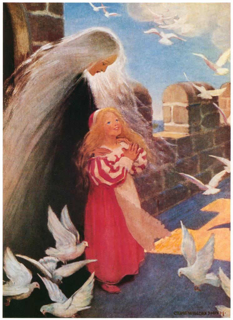 ジェシー・ウィルコックス・スミス – 彼女は喜んで手を叩き、羽ばたかせるように立ち上がった。(お姫さまとゴブリンの物語) (ジェシー・ウィルコックス・スミス: アメリカンイラストレーターより) パブリックドメイン画像