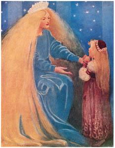ジェシー・ウィルコックス・スミス – 「さあ」と彼女は依然として腕を差し出しました。(お姫さまとゴブリンの物語) (ジェシー・ウィルコックス・スミス: アメリカンイラストレーターより)のサムネイル画像