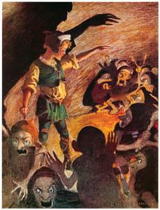 ジェシー・ウィルコックス・スミス – 彼が始めた時、ゴブリンたちは少し後退しました。(お姫さまとゴブリンの物語) (ジェシー・ウィルコックス・スミス: アメリカンイラストレーターより)のサムネイル画像