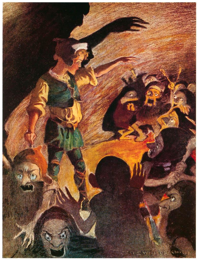 ジェシー・ウィルコックス・スミス – 彼が始めた時、ゴブリンたちは少し後退しました。(お姫さまとゴブリンの物語) (ジェシー・ウィルコックス・スミス: アメリカンイラストレーターより) パブリックドメイン画像
