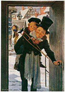 ジェシー・ウィルコックス・スミス – クリスマスの日の小さなティムとボブ・クラチット (ジェシー・ウィルコックス・スミス: アメリカンイラストレーターより)のサムネイル画像