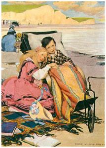 ジェシー・ウィルコックス・スミス – ブライトンのビーチにいるポール・ジュニアとフローレンス (ドンビー父子) [ジェシー・ウィルコックス・スミス: アメリカンイラストレーターより]のサムネイル画像