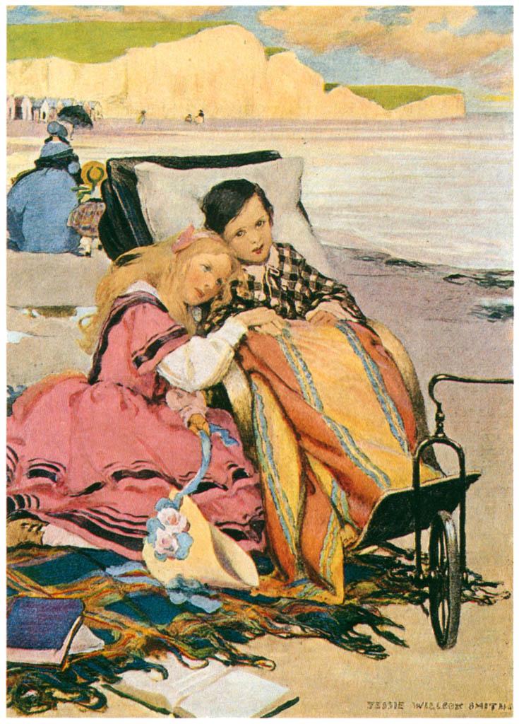ジェシー・ウィルコックス・スミス – ブライトンのビーチにいるポール・ジュニアとフローレンス (ドンビー父子) [ジェシー・ウィルコックス・スミス: アメリカンイラストレーターより] パブリックドメイン画像