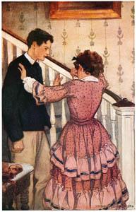 ジェシー・ウィルコックス・スミス – 手すりを持って、彼女は彼をそっと追い払った。(若草物語) [ジェシー・ウィルコックス・スミス: アメリカンイラストレーターより]のサムネイル画像