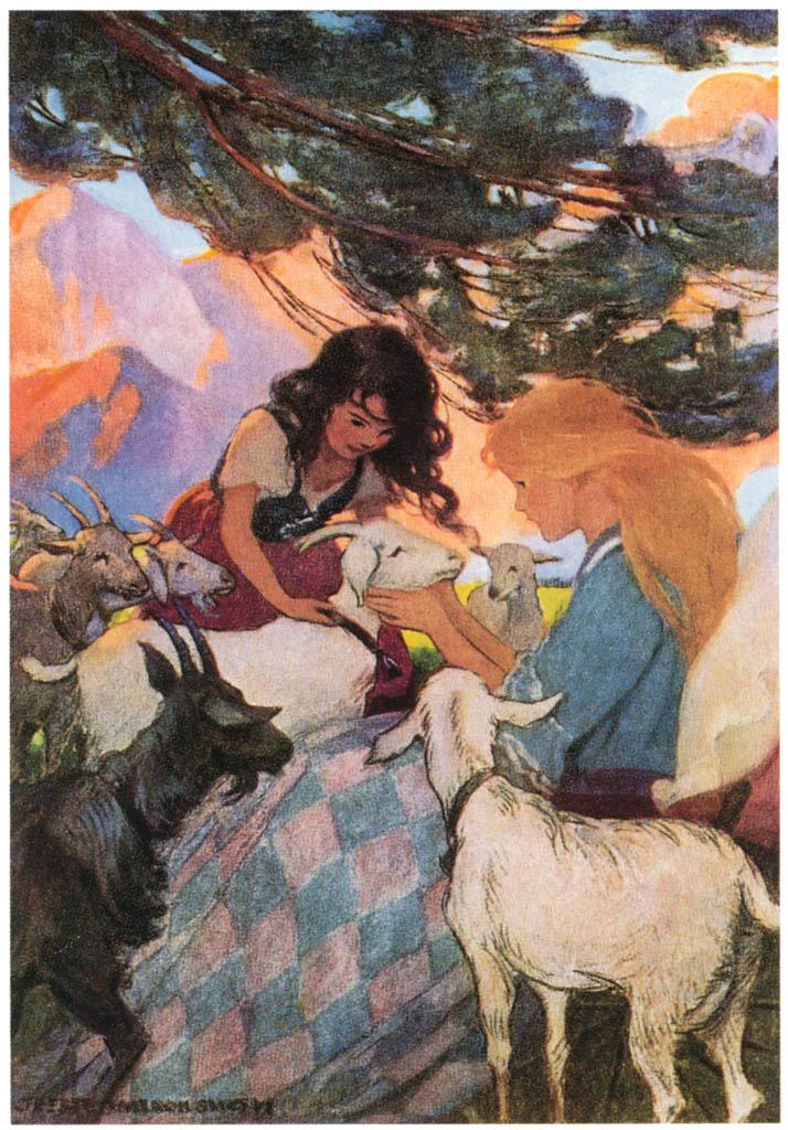ジェシー・ウィルコックス・スミス – ハイジはヤギたちを友達のクララに紹介しました。(アルプスの少女ハイジ) [ジェシー・ウィルコックス・スミス: アメリカンイラストレーターより] パブリックドメイン画像