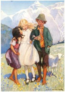 ジェシー・ウィルコックス・スミス – 「一度しっかり足を下してみたら」と提案するハイジ。(アルプスの少女ハイジ) [ジェシー・ウィルコックス・スミス: アメリカンイラストレーターより]のサムネイル画像