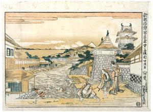 thumbnail Katsushika Hokusai – Act III – Newly Published Perspective Picture of the Loyal Retainers [from Meihin Soroimono Ukiyo-e]