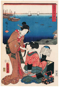 thumbnail Utagawa Kunisada and Utagawa Hiroshige – Shinagawa: Dressing Room [from The Fifty-three Stations by Two Brushes]