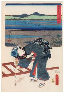 thumbnail Utagawa Kunisada and Utagawa Hiroshige – Shimada: Woman Traveller at the Ôi River [from The Fifty-three Stations by Two Brushes]