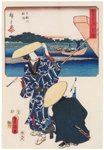 thumbnail Utagawa Kunisada and Utagawa Hiroshige – Mitsuke: Ferryboat on the Tenryû River; Travellers at the Tenryû River [from The Fifty-three Stations by Two Brushes]
