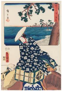 thumbnail Utagawa Kunisada and Utagawa Hiroshige – Hamamatsu: Passenger and Baggage on a Horse [from The Fifty-three Stations by Two Brushes]