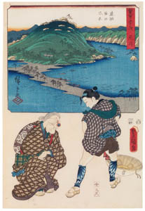 thumbnail Utagawa Kunisada and Utagawa Hiroshige – Arai: View of the Distant Lake and the Horie Area; Identity Inspection Granny at the Lake [from The Fifty-three Stations by Two Brushes]