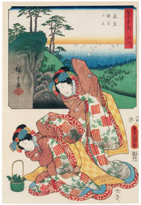 thumbnail Utagawa Kunisada and Utagawa Hiroshige – Futakawa: On Top of the Mountain of the Iwaya Kannon Temple; the Dance Play Shinobu-uri [from The Fifty-three Stations by Two Brushes]