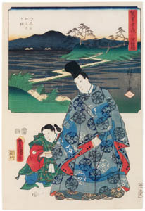 thumbnail Utagawa Kunisada and Utagawa Hiroshige – Chiryû: Historical Site of the Iris at Yatsuhashi VIllage; Narihira at Yatsuhashi [from The Fifty-three Stations by Two Brushes]