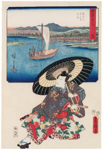 thumbnail Utagawa Kunisada and Utagawa Hiroshige – Miya: Distant View of Atsuta Station and Nezame Village; Actor Ichikawa Danjûrô VIII as Taira no Kagekiyo [from The Fifty-three Stations by Two Brushes]