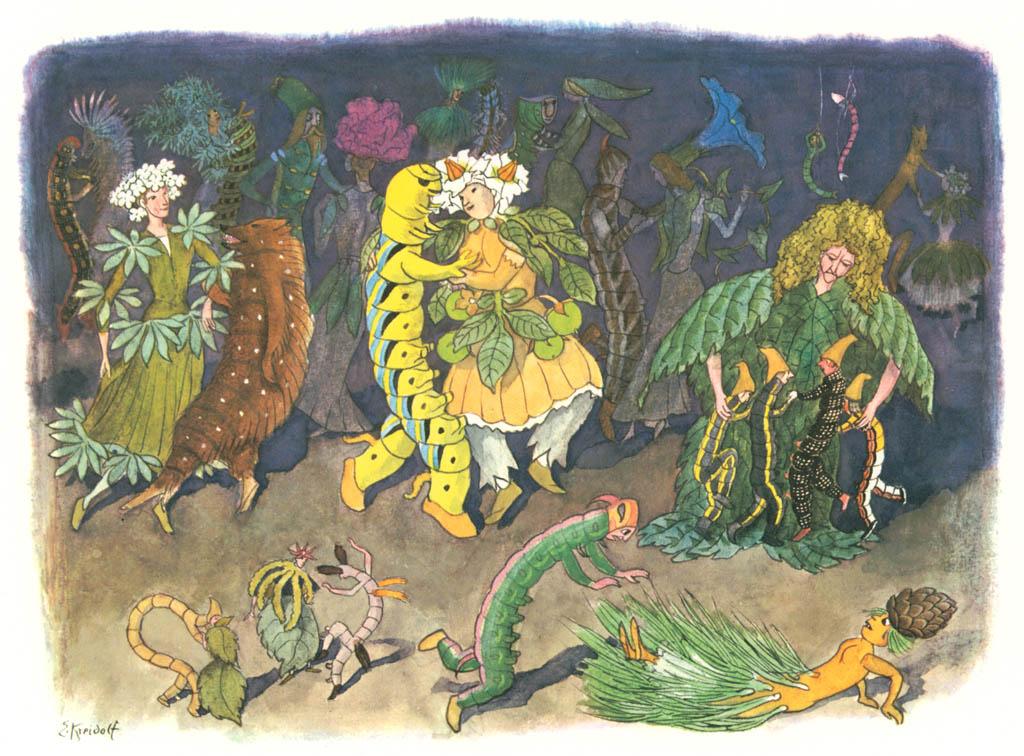 エルンスト・クライドルフ – 毛虫のダンス [花を棲みかに(ドイツ語版)より] パブリックドメイン画像