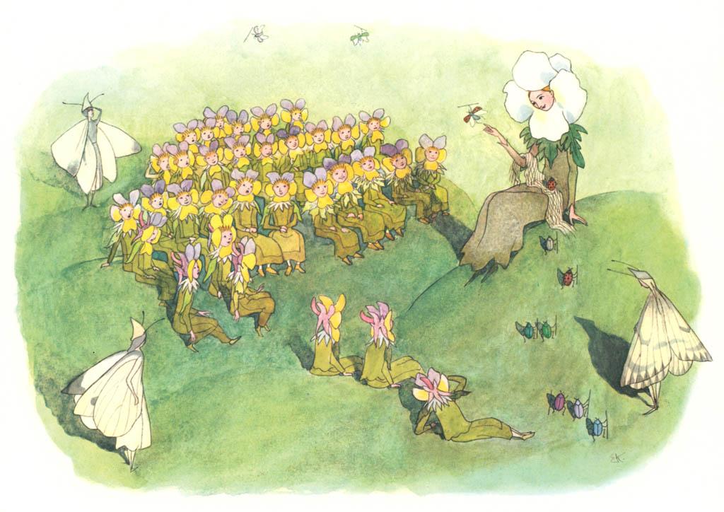 エルンスト・クライドルフ – 山の牧草地で [花を棲みかに(ドイツ語版)より] パブリックドメイン画像