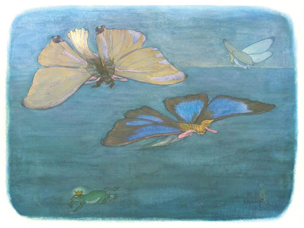 エルンスト・クライドルフ – 水の上にて [花を棲みかに(ドイツ語版)より] パブリックドメイン画像