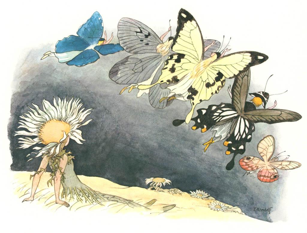 エルンスト・クライドルフ – わたりどり [花を棲みかに(ドイツ語版)より] パブリックドメイン画像