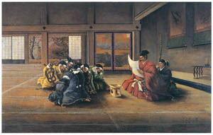 thumbnail Takahashi Yuichi – Oda Nobunaga Showing a Secret Imperial Command to his Elderly Subjects [from Takahashi Yuichi: Pioneer of Modern Western-style Painting]