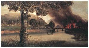 高橋由一 – 官軍が火を人吉に放つ図 [近代洋画の開拓者 高橋由一展より]のサムネイル画像