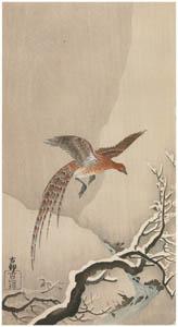 thumbnail Ohara Koson – Copper Pheasant in Snow [from Hanga Geijutsu No.180]