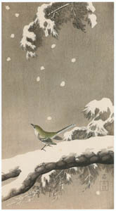 thumbnail Ohara Koson – Japanese Bush Warbler on Snowy Pine [from Hanga Geijutsu No.180]