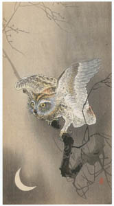 thumbnail Ohara Koson – Horned Owl with Moon [from Hanga Geijutsu No.180]
