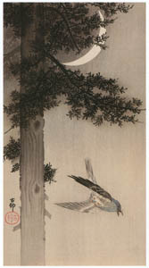 thumbnail Ohara Koson – Alpine Accentor with Crescent Moon [from Hanga Geijutsu No.180]