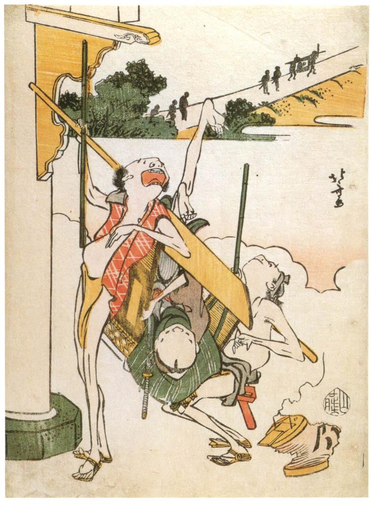 葛飾北斎 – 鳥羽絵集会 転ぶ駕龍舁 [名品揃物浮世絵9 北斎IIより] パブリックドメイン画像