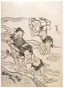 葛飾北斎 – 鳥羽絵集会 河渡し [名品揃物浮世絵9 北斎IIより]のサムネイル画像