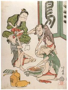 thumbnail Katsushika Hokusai – The Toba-e Collection Series : Drinking Servants [from Meihin Soroimono Ukiyo-e]