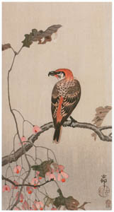 thumbnail Ohara Koson – Hardy Begonia and Red Crossbill [from Hanga Geijutsu No.180]