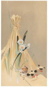 thumbnail Ohara Koson – Hay Bundle, Narcissus Flower and Japanese Accentor [from Hanga Geijutsu No.180]