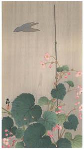 小原古邨 – 雨中の秋海棠に鳥影 [版画芸術 181号より]のサムネイル画像