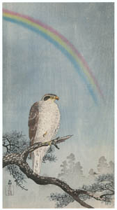 thumbnail Ohara Koson – Rainbow, Pine Tree and Northern Goshawk [from Hanga Geijutsu No.180]